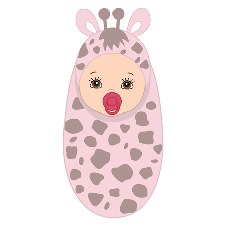 swaddle: Vector cute baby wrapped in blanket with giraffe pattern. Baby girl in giraffe outfit. Vector baby boy. Vector baby girl. Vector baby girl. Newborn vector illustration. Illustration