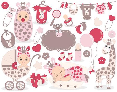 かわいい赤ちゃん女の子セット キリン パターンをベクトル、女の赤ちゃん、おもちゃ、ベビーカー、風船、赤ちゃんの服が含まれています。ベクト