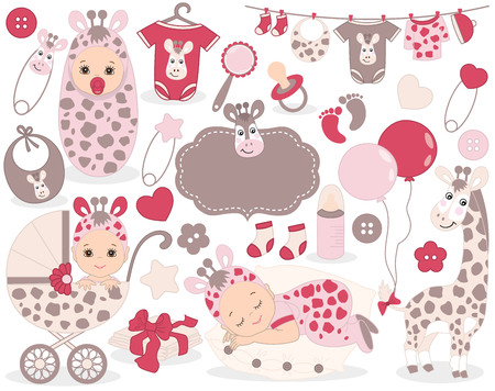 Vector cute baby girl set with giraffe pattern, includes a baby girl, toys, stroller, balloons and baby clothes. Vector baby girl. Baby shower vector illustration.