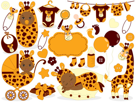 Vector cute baby set with giraffe pattern, includes  African American baby boy,  baby girl, toys, stroller and baby clothes. Baby shower vector illustration.