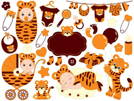 Vector cute baby set with tiger pattern, includes baby boy, baby girl, toys, stroller and baby clothes. Baby shower vector illustration.