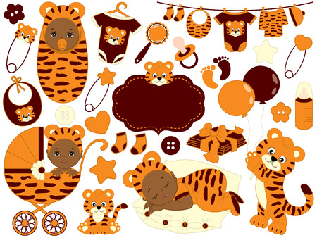 Vector cute baby set with tiger pattern, includes  African American baby boy, baby girl, toys, stroller and baby clothes. Baby shower vector illustration.