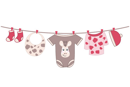 Vector baby girl clothes with giraffe image hanging on the line. Vector baby clothes. Baby shower vector illustration. Illustration