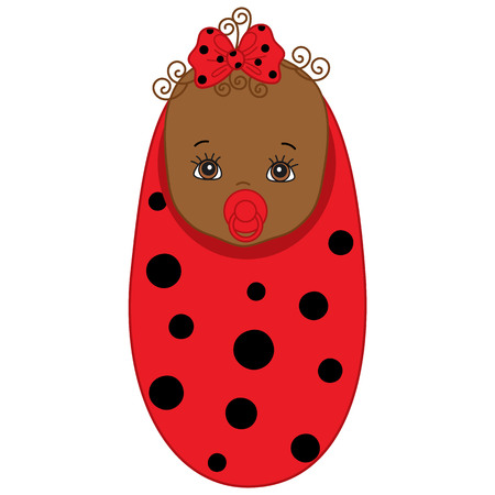 swaddle: Vector cute African American baby girl wrapped in blanket with ladybug pattern. Baby girl in red and black ladybug outfit. Vector baby girl. Newborn vector illustration.