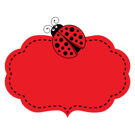 Vector red frame with ladybug image and stitching. Vector frame. Vector illustration