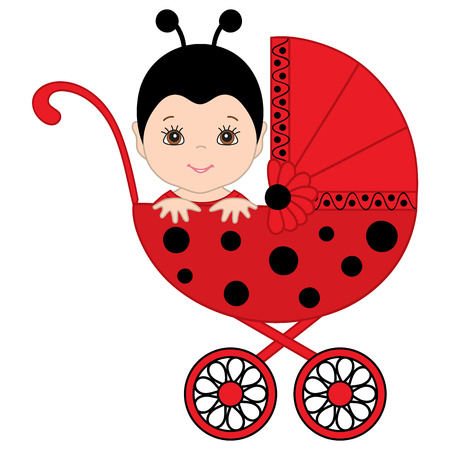 Vector cute baby girl wearing ladybug costume. Vector baby girl. Newborn vector illustration.