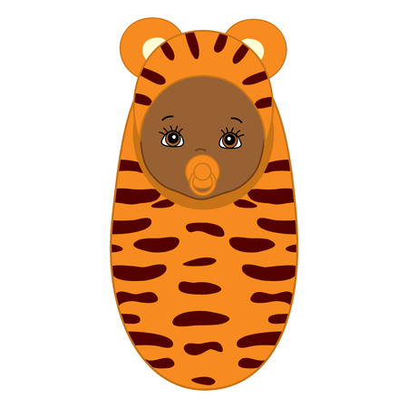 swaddle: Vector African American cute baby wrapped in blanket with tiger pattern. Baby in tiger outfit. Its a girl clipart. Vector baby boy. Vector baby girl. Newborn vector illustration. Illustration
