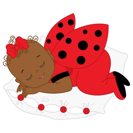 てんとう虫コスチューム睡眠のベクトルのアフリカ系アメリカ人かわいい女の子。枕で寝ているてんとう虫の衣装で女の赤ちゃん。ベクトルの女の