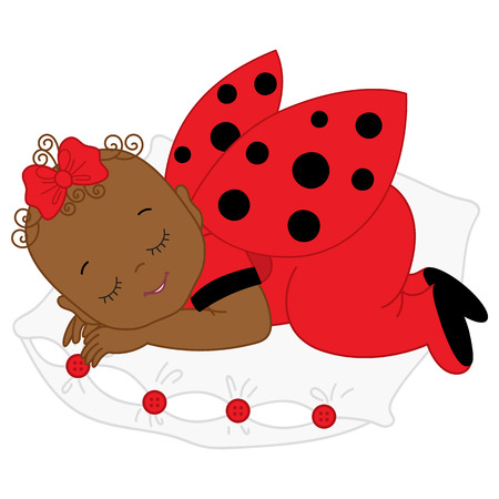 Vector African American cute baby girl in ladybug costume sleeping. Baby girl in ladybug outfit sleeping on pillow. Vector baby girl. Newborn vector illustration.