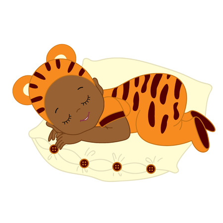 Vector African American cute baby in tiger costume sleeping. Baby in tiger outfit sleeping on pillow. Vector baby boy. Vector baby girl. Newborn vector illustration. Stock Vector - 80559519