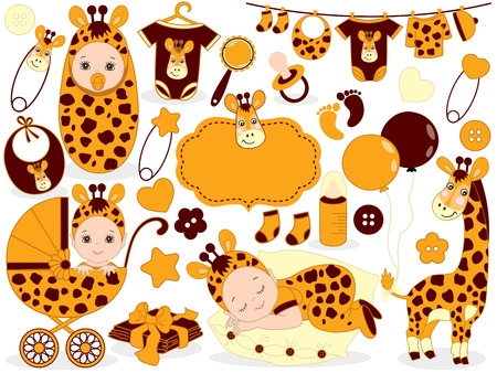 Vector cute baby set with giraffe pattern, includes baby boy, baby girl,, toys, stroller, balloons and baby clothes. Vector baby boy. Vector baby girl. Baby shower vector illustration.