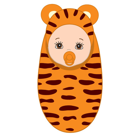 swaddle: Vector cute baby wrapped in blanket with tiger pattern. Baby in tiger outfit. Its a girl clipart. Its a boy clipart. Newborn vector illustration.