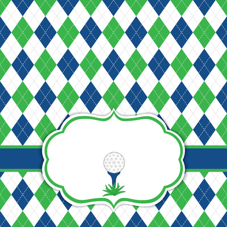 Vector card template with golf ball on tee. Argyle background. Card template for men golf tournaments, events, birthdays and parties with space for your text. Vector illustration.