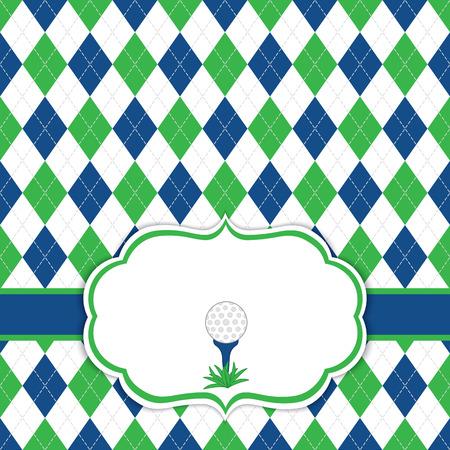 Vector tarjeta de plantilla con pelota de golf en la camiseta. Fondo de Argyle. Plantilla de la tarjeta para los torneos, los acontecimientos, los cumpleaños y los partidos del golf de los hombres con el espacio para su texto. Ilustración del vector. Foto de archivo - 80893295
