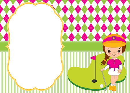 children party: Vector card template with cute little girl playing golf.