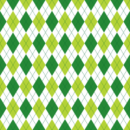 Vector Argyle seamless pattern in soft and dark green color with stitching. Seamless Argyle pattern. Diamond shaped background. Checkered seamless pattern.