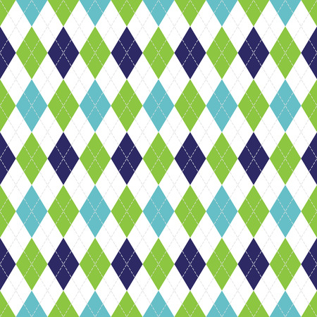 Vector Argyle seamless pattern in navy, soft blue and green color with white stitching.