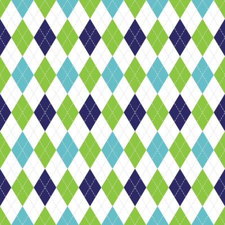벡터 화이트 스티치와 해군, 소프트 블루와 그린 컬러에서 아가일 원활한 패턴. 일러스트