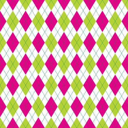 アーガイル ピンクと緑の色のステッチでシームレスなパターンをベクトルします。シームレスなアーガイル柄。菱形の背景。市松模様のシームレス
