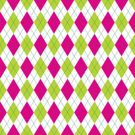 Vector Argyle seamless pattern in pink and green color with stitching. Seamless Argyle pattern. Diamond shaped background. Checkered seamless pattern.