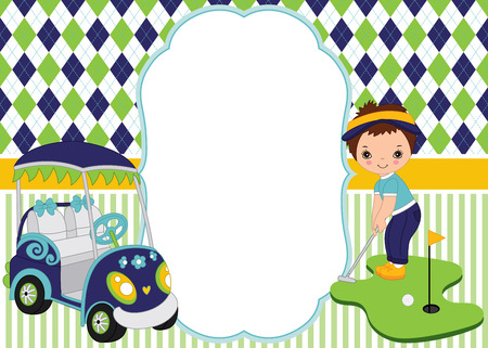Vector card template with cute little boy playing golf. Argyle and striped background. Card template for kids golf tournaments, birthdays and parties with space for your text. Vector illustration.