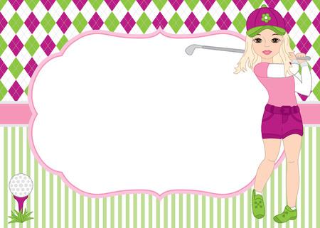 Vector kaartsjabloon met meisje golfen. Argyle en gestreepte achtergrond. Kaartsjabloon voor damestolftoernooien, evenementen, verjaardagen en feesten met ruimte voor uw tekst. Vector illustratie.