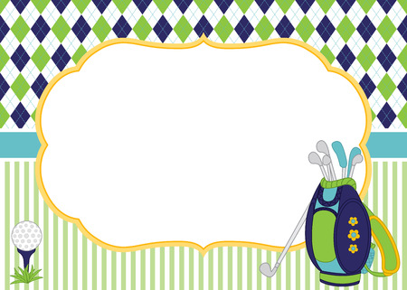 Vector card template with golf bag, clubs and ball. Argyle and striped background Illustration