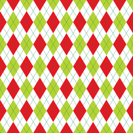 Vector Argyle seamless pattern in red and green color with stitching. Illustration