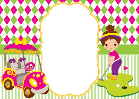 children party: Vector card template with cute little girl playing golf. Argyle and striped background. Card template for kids golf tournaments, birthdays and parties with space for your text. Vector illustration.