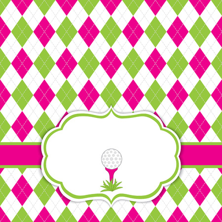 Vector card template with golf ball on tee. Argyle background.