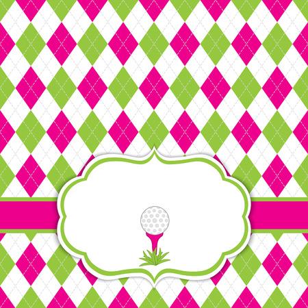 Vector kaartsjabloon met golfbal op tee. Argyle achtergrond.