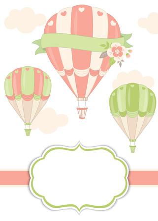 Vector kaartsjabloon met lucht ballonnen in pastel kleur. Kaartsjabloon voor bruids douche, verjaardag en feest met ruimte voor uw tekst. Vector illustratie. Stock Illustratie