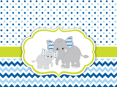 Vector card template with cute elephants on polka dot and chevron background. Card template for baby boy shower, birthdays and parties with space for your text. Vector baby boy. Vector baby elephant.
