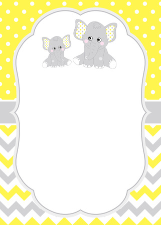 Vector card template with cute elephants on polka dot and chevron background. Card template for baby shower, birthdays and parties with space for your text. Vector baby elephant. Vector baby shower.