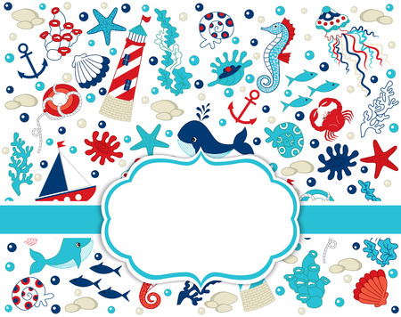 Vector card template with nautical elements - crab, whale, starfish, seahorse, anchor and lighthouse. Card template for baby shower, birthdays and parties with space for your text. Vector nautical.