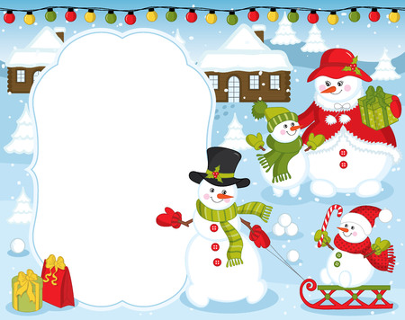 Vector Christmas And New Year Card Template With Cute Snowmen ...