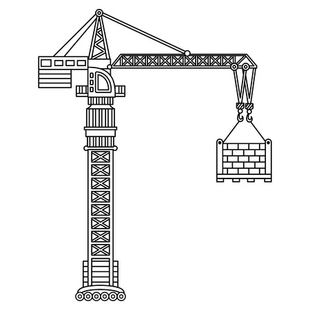 hook up: Vector construction crane. Construction machine. Vector crane.