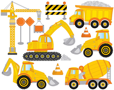 Vector construction transport set includes crane, concrete mixer, excavator, bulldozer, digger and tractor. Construction machines. Vector construction transport.