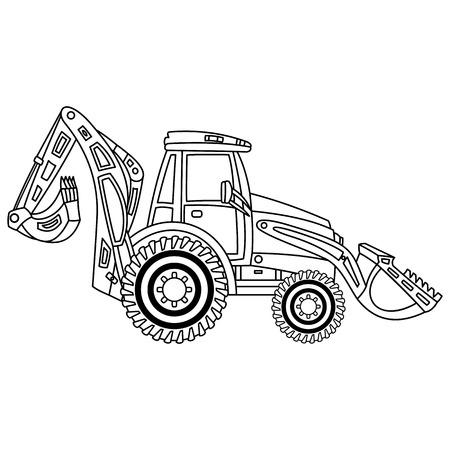 A vector construction digger. Vector excavator. Construction machine. Black and white digger vector illustration. Illustration