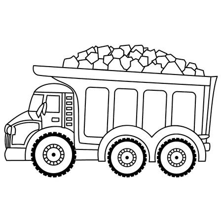 Vector de camión de basura. Vector construcción transporte. Camión de vector blanco y negro.