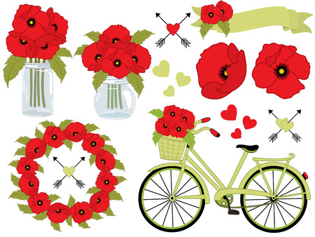 A vector floral set includes poppies, wreath, mason jar, a bicycle with basket, ribbon, arrows, and hearts,  illustration.