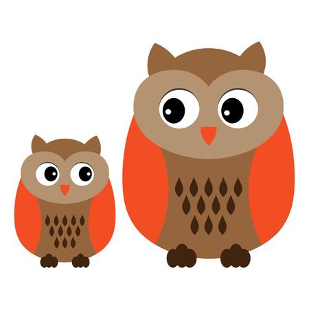 Vector cute cartoon owls. Owls clipart. Baby owl vector illustration.