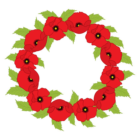 Vector wreath with poppies. Poppy vector illustration. Ilustrace