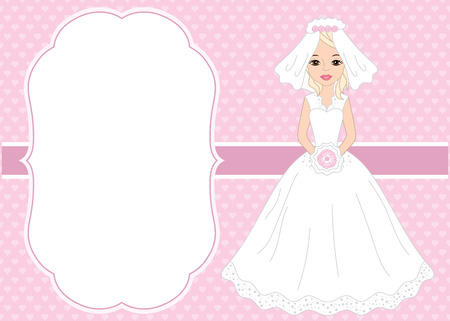 Vector card template with a beautiful bride on hearts background. Card template for bridal shower and  wedding with space for your text. Vector bride. Vector illustration. Illustration
