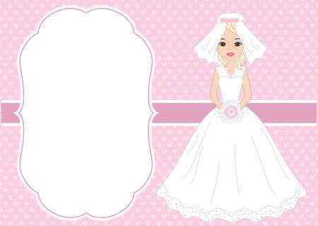 Vector Kartenschablone mit einer schönen Braut auf Herzhintergrund. Kartenschablone für Brautparty und Hochzeit mit Platz für Ihren Text. Vektor Braut Vektor-Illustration Vektorgrafik