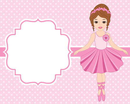 Vector card template with ballerina on polka dot background. Card template for birthdays and parties with space for your text. Vector ballerina . Vector illustration.