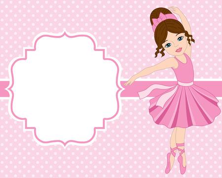 Vector kaart sjabloon met ballerina op polka dot achtergrond. Kaart sjabloon voor verjaardagen en partijen met ruimte voor uw tekst. Vector ballerina. Vector illustratie.