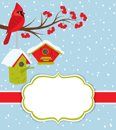 Vector Christmas and New Year card template with cardinal on the branch, red berries and birdhouses on snow background. Christmas and New Year card template with space for your text.