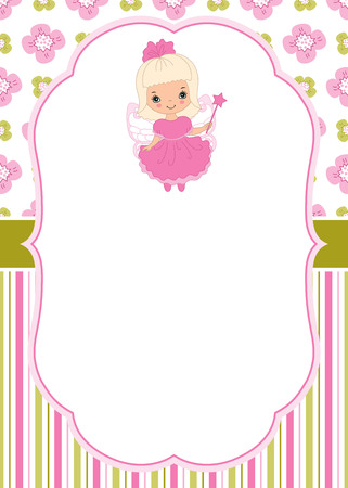 Vector card template with cute fairy on  floral and striped background. Card template for baby shower, parties and birthdays with space for your text. Vector cartoon fairy. Vector illustration.