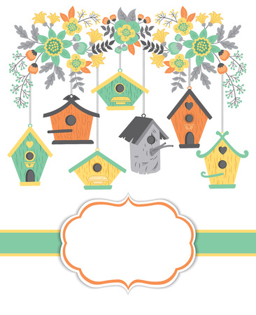 nesting: Vector card template with birdhouses and floral branch on white background. Card template for bridal showers, birthdays and parties with space for your text. Vector illustration. Illustration
